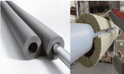 Рекомендуется использовать цилиндрические утеплители (жесткие) или минераловатный материал