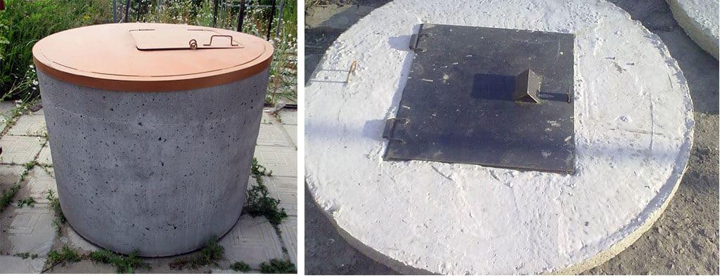 Металлическая и бетонная крышка для колодца